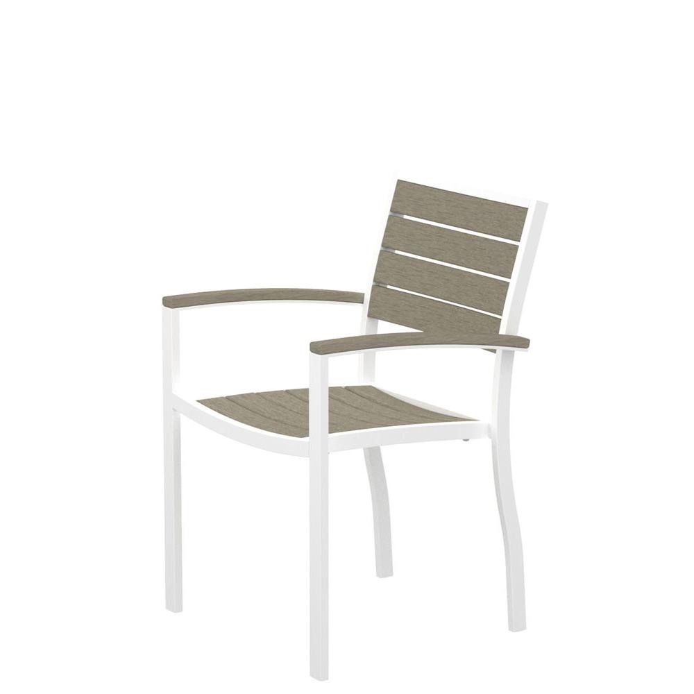POLYWOOD Euro Gloss White Patio Dining Arm Chair with Sand Slats-DISCONTINUED