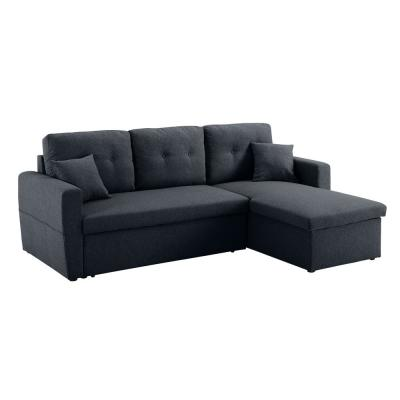 88 in. W Dark Blue Linen Fabric 3-Seats Full Sleeper Sectional Sofa Bed with Storage for Small Apartment