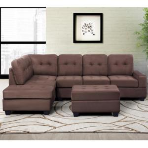 Harper & Bright Designs Brown 3-Piece Sectional Sofa ...