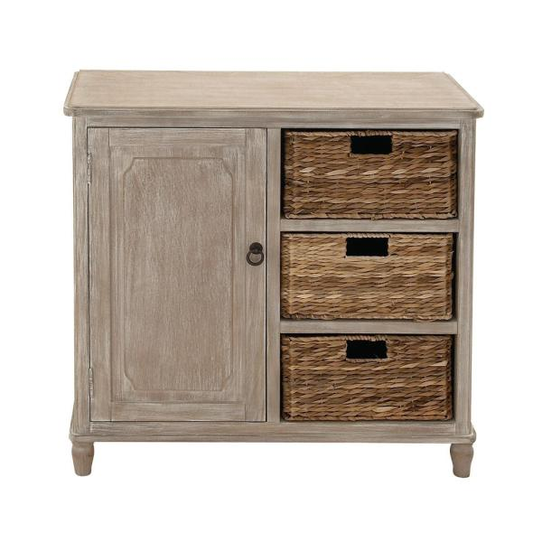 32 In X 32 In Classic Pine Wood And Mdf Basket Cabinet In Distressed White