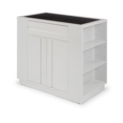 Linear White Storage Kitchen Island