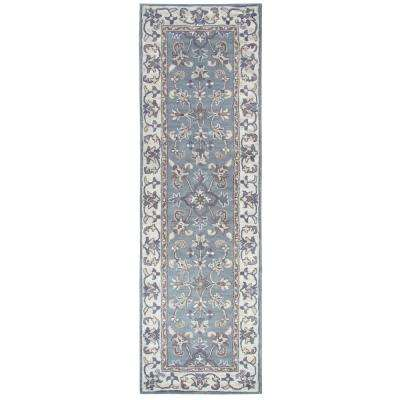 Valintino Grey Border 3 ft. x 8 ft. Runner Rug
