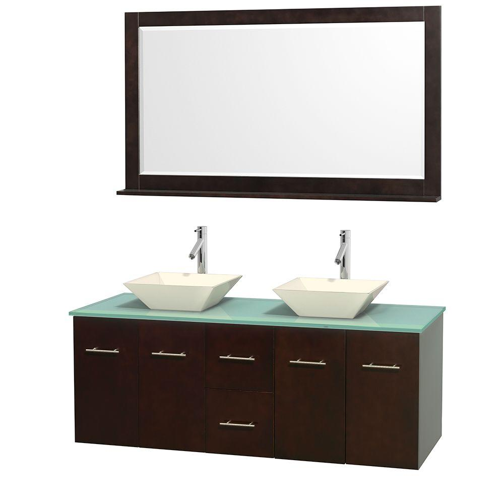 Centra 60 in. Double Vanity in Espresso with Glass Vanity Top