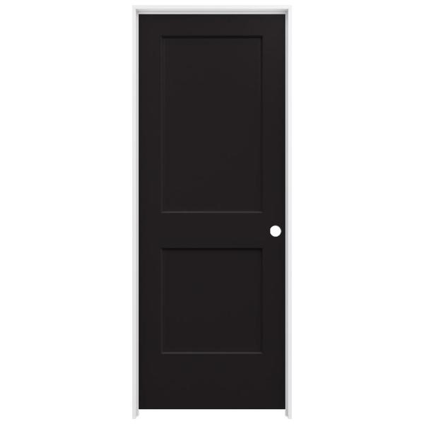 30 in. x 80 in. Monroe Black Painted Left-Hand Smooth Solid Core Molded Composite MDF Single Prehung Interior Door