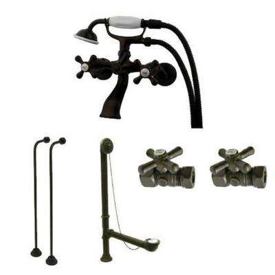 Tub Wall-Mount Adjustable Centers 3-Handle Claw Foot Tub Faucet with Hand Shower Combo Set in Oil Rubbed Bronze