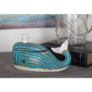 9 inch x 6 inch Cyan and Brown Ceramic Whale Jar by
