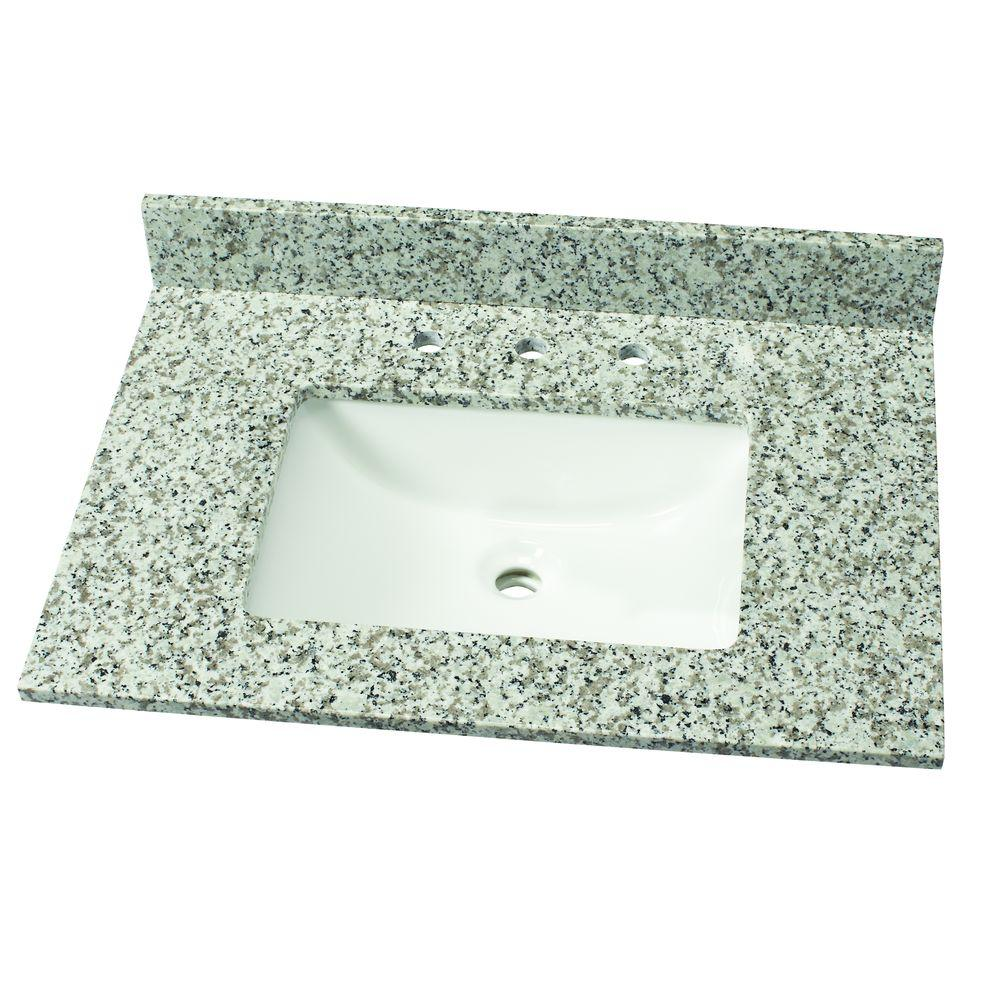 31 in. W Granite Single Vanity Top in Blanco Taupe with