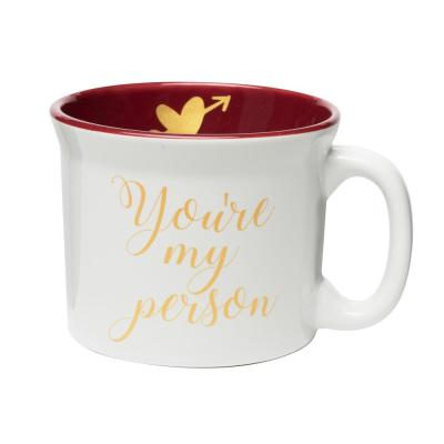 You're My Person 20 oz. White-Red Ceramic Coffee Mug