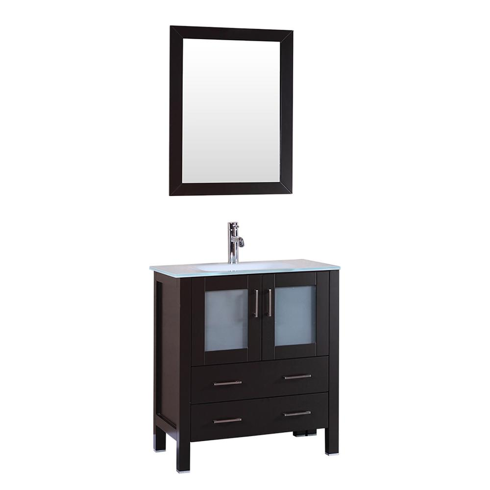 Bosconi 30 in. W Single Bath Vanity with Tempered Glass Vanity Top in White with White Basin and Mirror