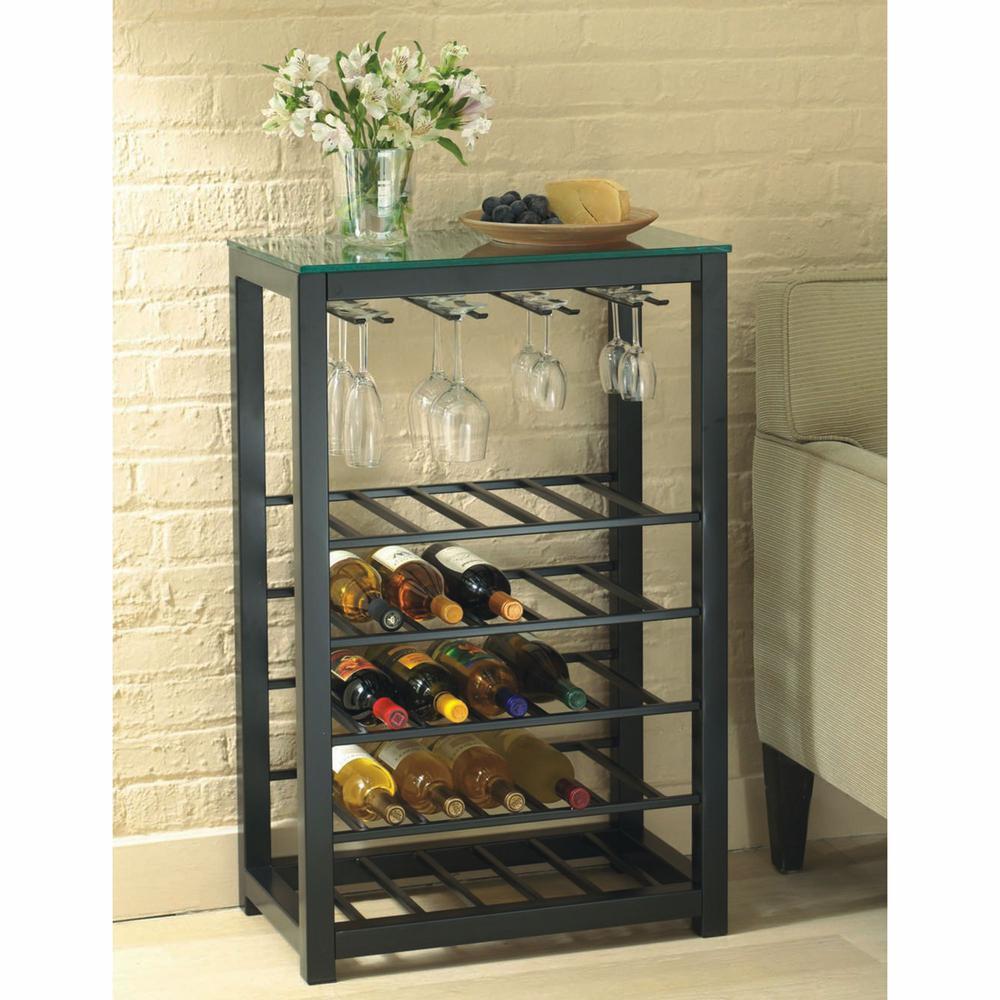 25-Bottle Black Floor Wine Rack  sc 1 st  The Home Depot & Wine Storage - Wine Racks - Kitchen u0026 Dining Room Furniture - The ...