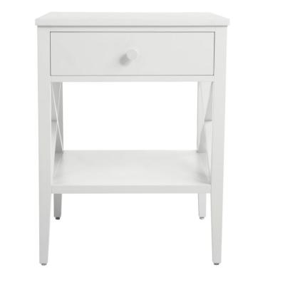 Oakley Rectangular White Wood 1 Drawer End Table with X Side Detail (18 in. W x 24 in. H)