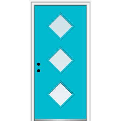 32 in. x 80 in. Aveline Right-Hand Inswing 3-Lite Clear Low-E Glass Painted Steel Prehung Front Door on 4-9/16 in. Frame