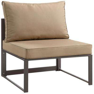 Fortuna Patio Aluminum Armless Middle Outdoor Sectional Chair in Brown with Mocha Cushions