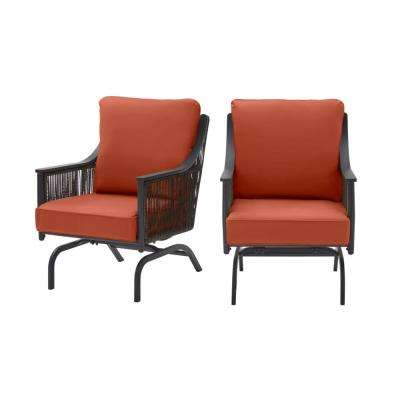Bayhurst Black Wicker Outdoor Patio Rocking Lounge Chair with CushionGuard Quarry Red Cushions (2-Pack)