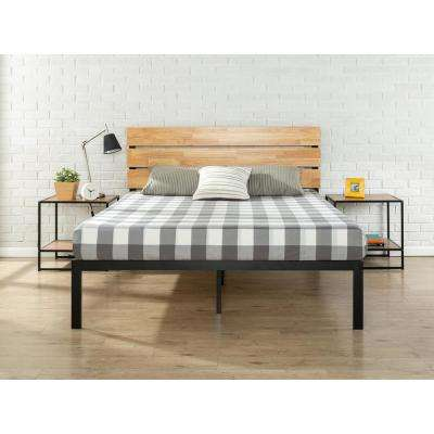 Paul Metal & Wood Platform Bed with Wood Slat Support, Full