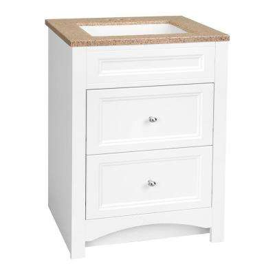 Modular 24.5 in. W Bath Vanity in White with Solid Surface Technology Vanity Top in Cappuccino with White Basin