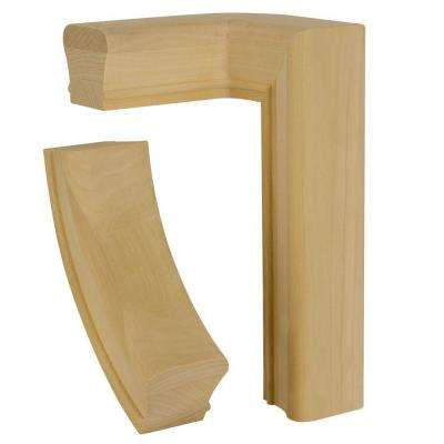 7271 Unfinished Poplar 2-Rise Left-Hand Quarter Turn Hand Rail Fitting