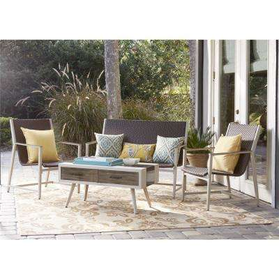 Monterey Valley 4 Piece Mixed Media Brown And Cream Wicker Conversation Set  With Coffee Table
