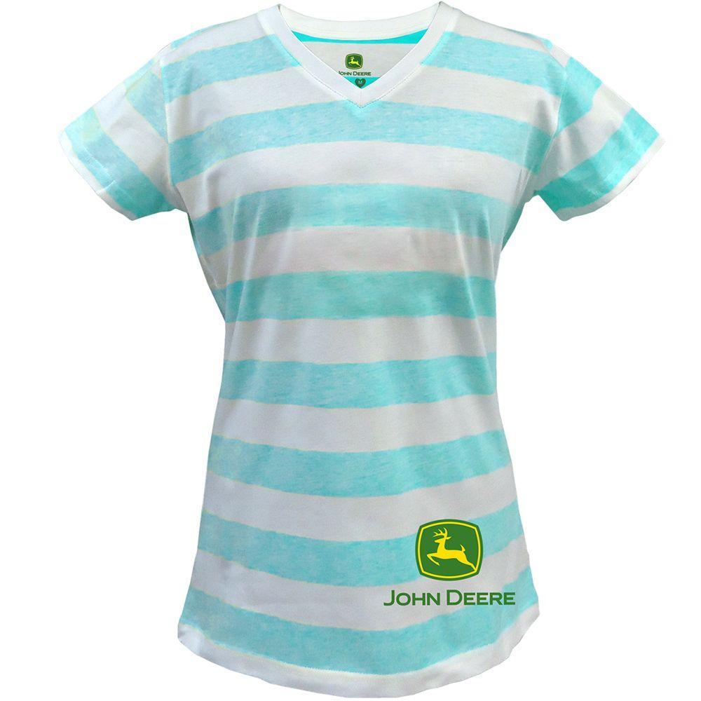 John Deere Ladies Large Push Through Stripe V-Neck T-Shirt in Turquoise