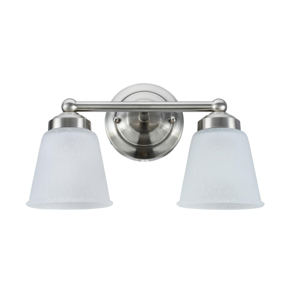 Aspen Creative Corporation 2-Light Satin Nickel Vanity Light with Frosted Seeded Glass Shade