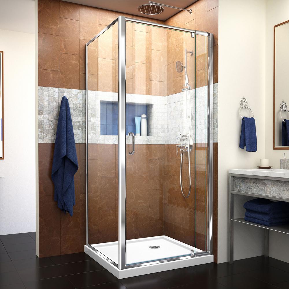 DreamLine Flex 36 in. W x 36 in. D x 74.75 in. Corner Framed Pivot Shower Enclosure in Chrome with White Acrylic Base