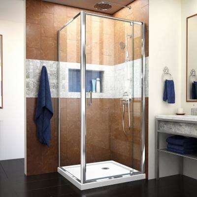 Flex 36 in. W x 36 in. D x 74.75 in. Corner Framed Pivot Shower Enclosure in Chrome with White Acrylic Base
