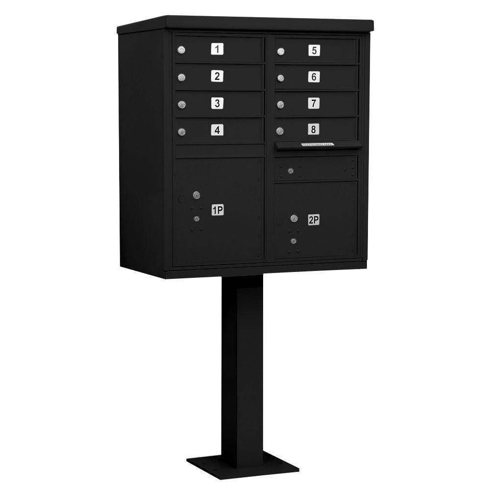 Salsbury Industries Black USPS Access Cluster Box Unit with 8 A Size Doors and Pedestal