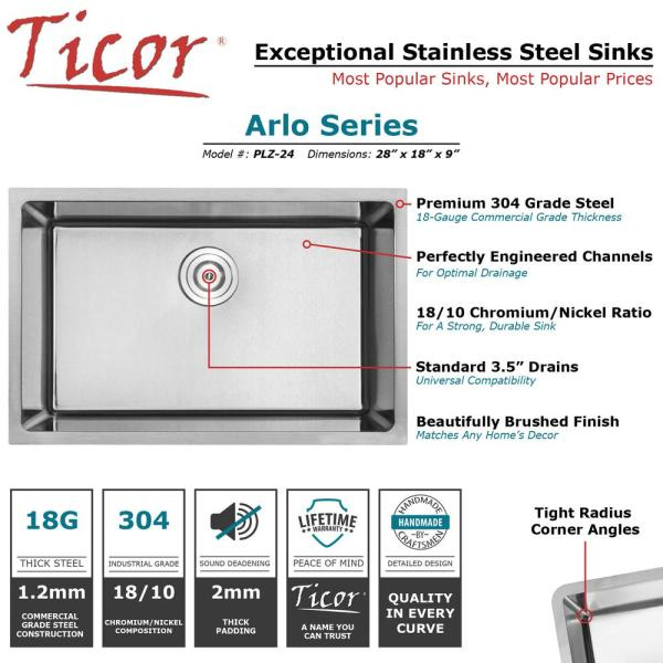 Ticor Arlo Undermount 18 Gauge Stainless Steel 28 In Single Bowl Kitchen Sink With Basket Strainer Plz 24 The Home Depot