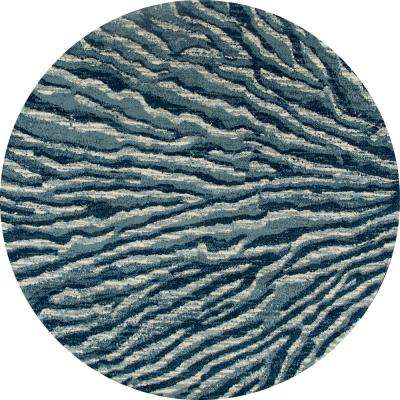 Troy Ripple Blue 8 ft. x 8 ft. Round Area Rug