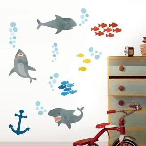 Multi-Color Shark Attack Wall Decal