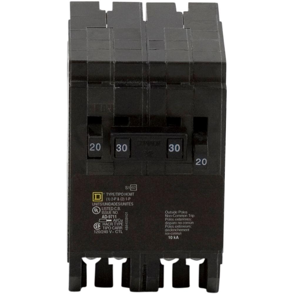 Square D Homeline 30 Amp 2 Pole Circuit Breaker Hom230cp The Home Light Switch Wiring Single Two Switches 20 1 Quad
