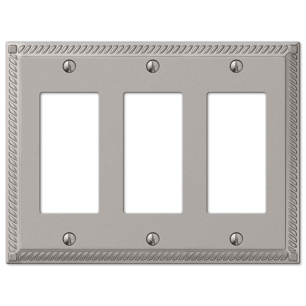 Amerelle Georgian Cast 3 Decorator Wall Plate, Satin Nickel
