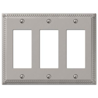 Georgian 3 Gang Rocker Metal Wall Plate - Satin Nickel