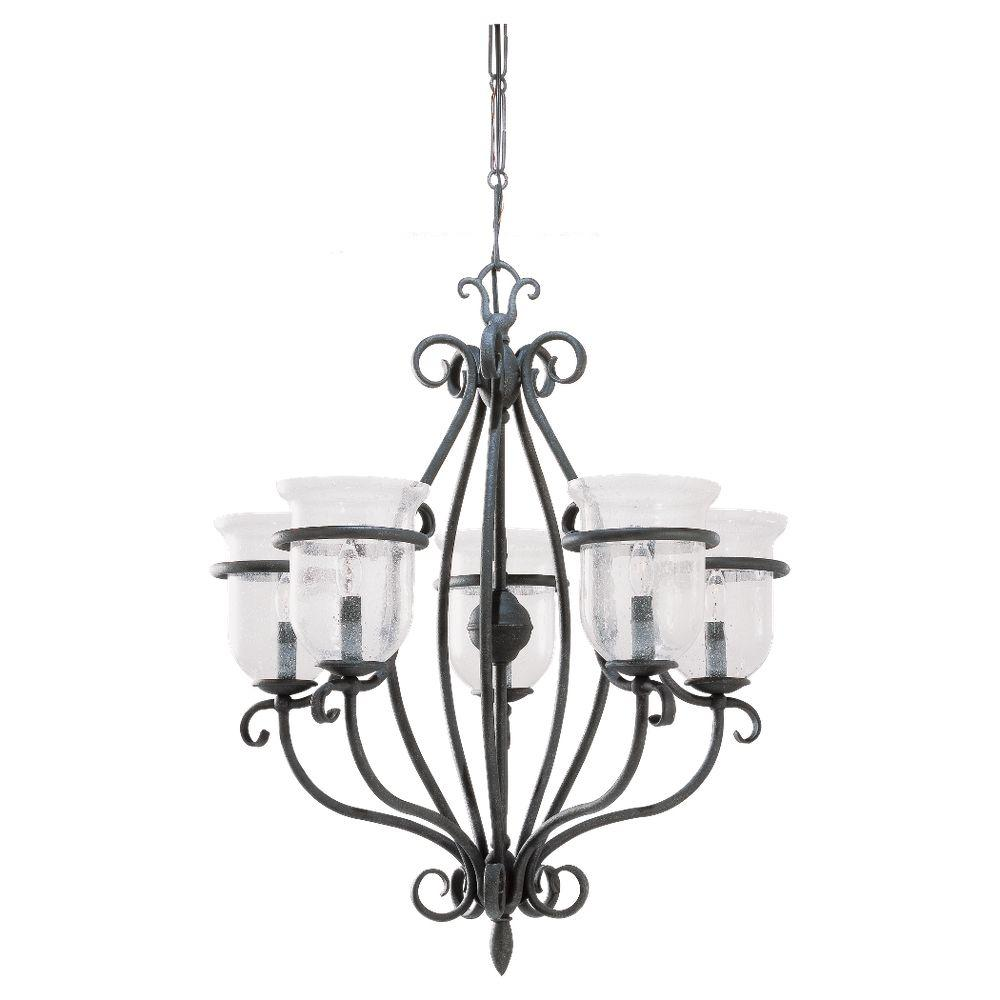 Sea Gull Lighting Manor House 5-Light Weathered Iron Single Tier Chandelier