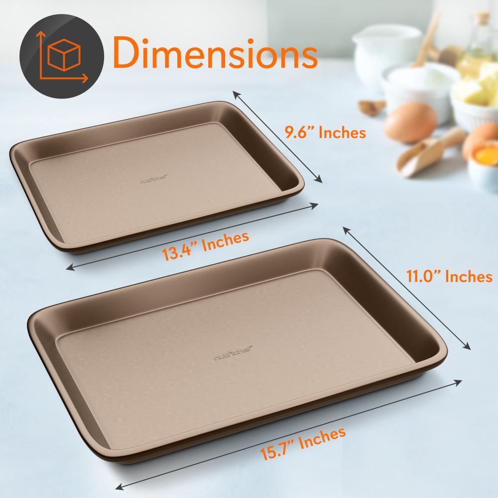 Large and Medium Cookie Pan Set 2 Pack Baking Sheet Pans Nonstick Cookie Sheet Pan Metal Baking Tray