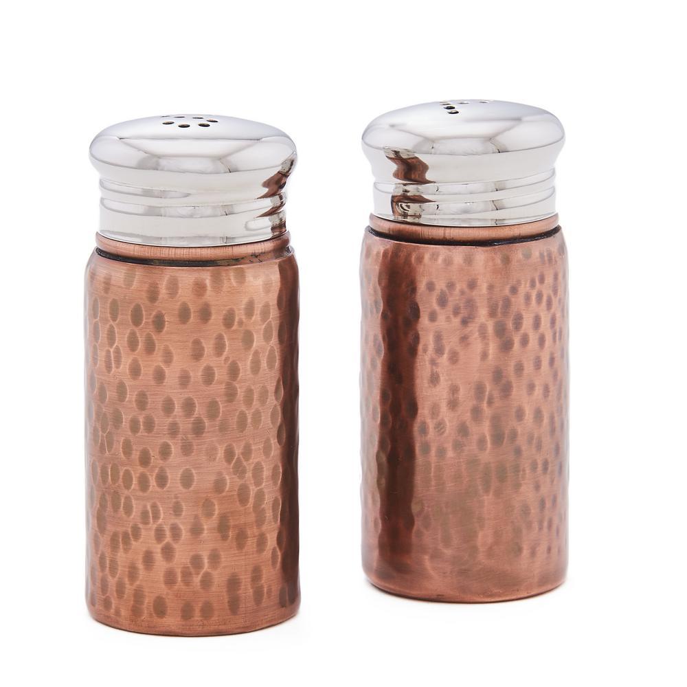 Old Dutch Hammered 3 In H Antique Copper Salt Pepper Shaker Set