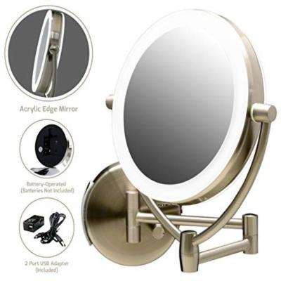 LED Lighted Makeup Mirror, Nickel Brushed Battery or USB Adapter Operated 1x 10x Magnification