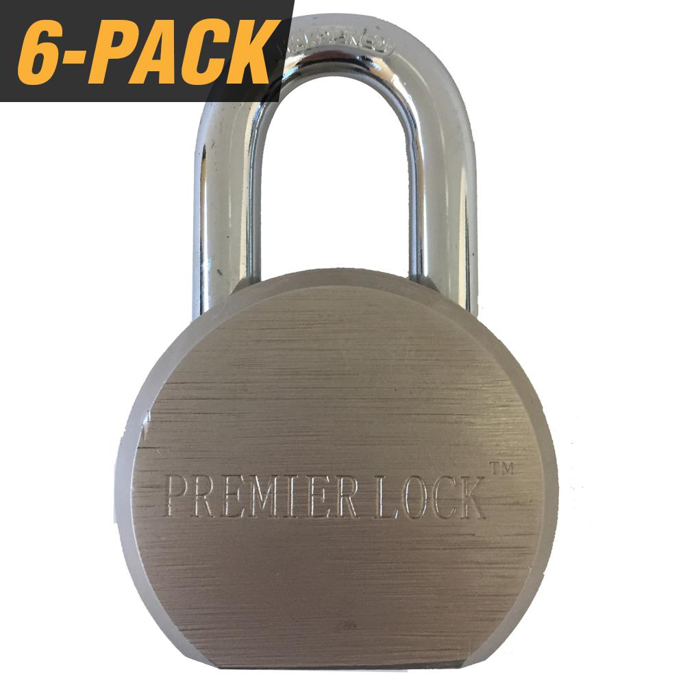 Grip Tight Tools 2-1/2 in. Premier Solid Steel Commercial Gate Keyed Padlock with Short Shackle and 18 Keys Total, (6-Pack, Keyed Alike)