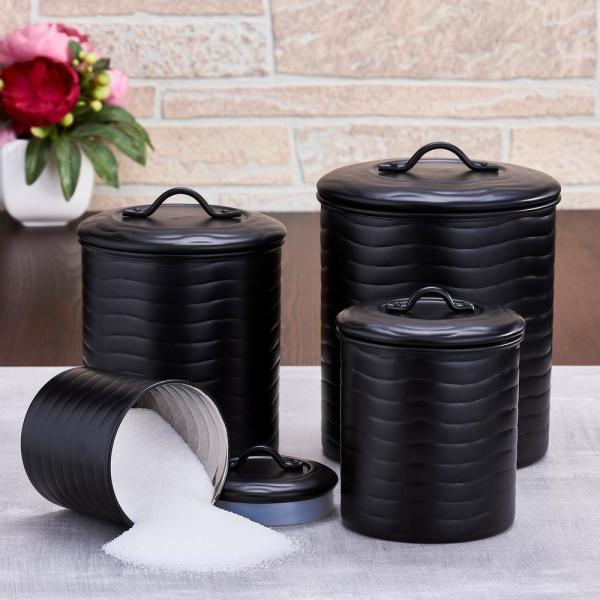 Old Dutch 4 Piece Wave In Matte Black Stainless Steel Canister Set With Fresh Seal Covers 2143mb The Home Depot