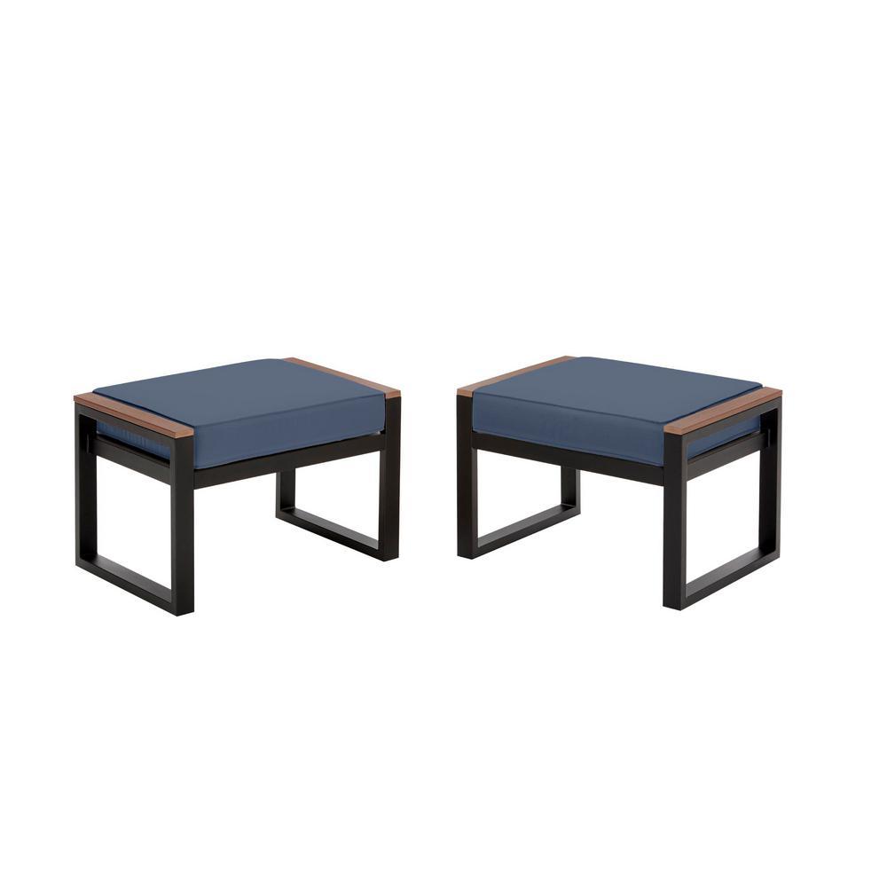 West Park Black Aluminum Outdoor Patio Ottoman with CushionGuard Sky Blue Cushion (2-Pack)