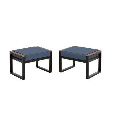 West Park Black Aluminum Outdoor Patio Ottoman with CushionGuard Sky Blue Cushion (2-Pack)