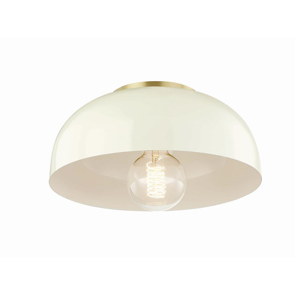 Mitzi By Hudson Valley Lighting Avery 1 Light 11 In W Aged Br Semi Flush Mount With Cream Metal Shade