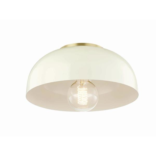 Avery 1-Light 11 in. W Aged Brass Semi-Flush Mount with Cream Metal Shade
