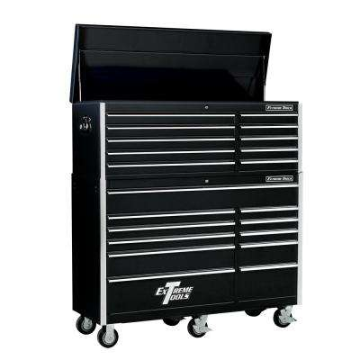 EX Standard Series 56 in. 10-Drawer Top Chest and 11-Drawer Roller Cabinet Combo, Black