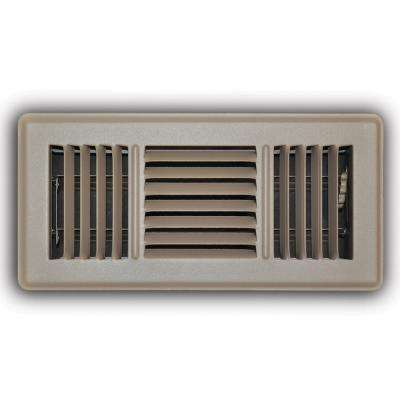 4 in. x 10 in. 3-Way Floor Diffuser in Brown