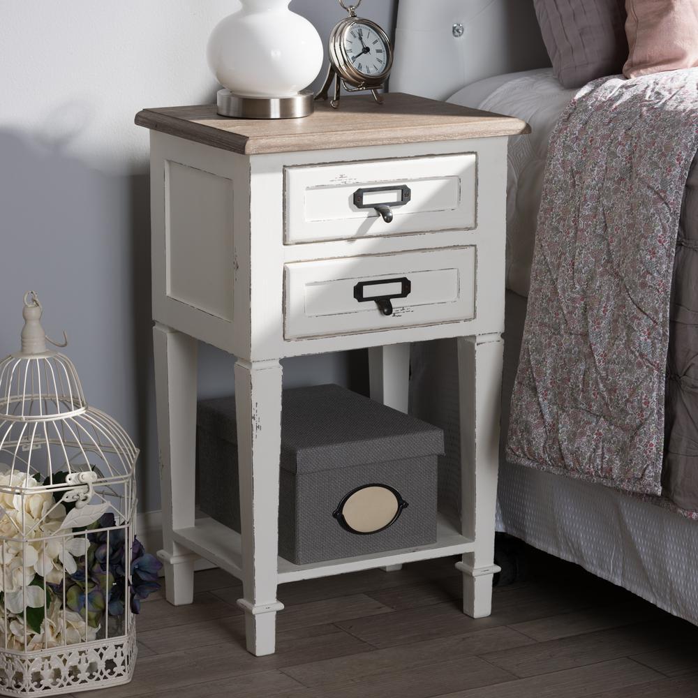 baxton studio dauphine 2-drawer white nightstand-28862-7577-hd - the Natural Nightstand