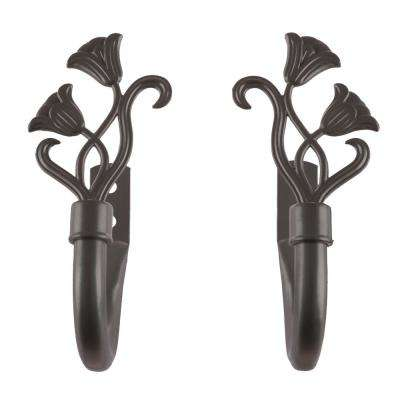 Floral Holdback Pair in Bronze
