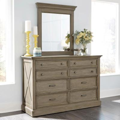 Mountain Lodge 8-Drawer Gray Dresser with Mirror