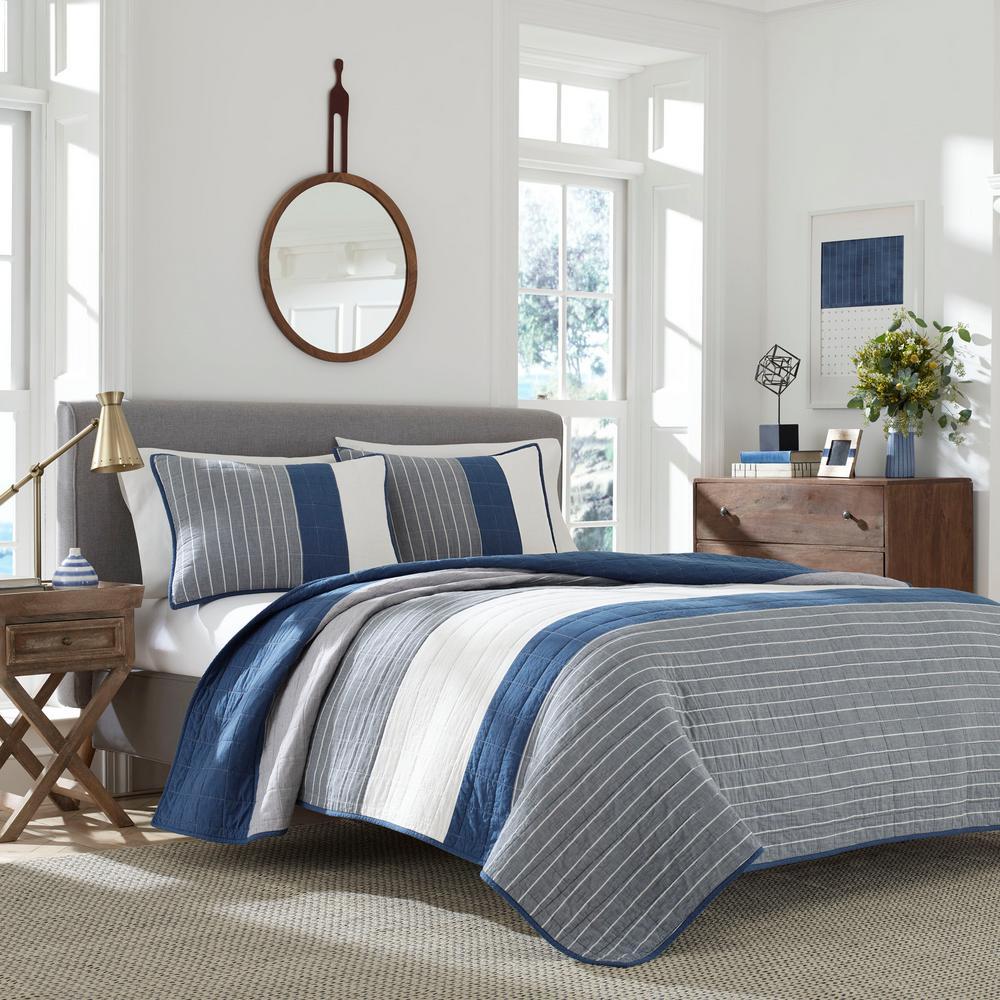 Swale Dark Blue Striped King Cotton Quilt