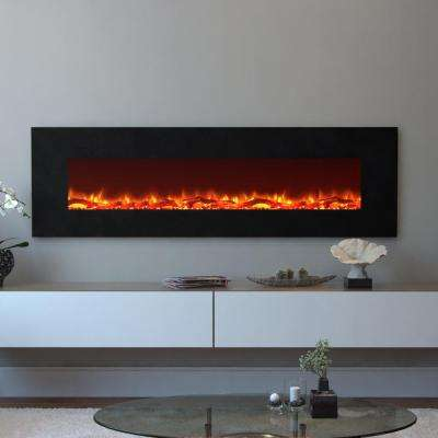 Skyline 72 in. Skyline Log Electric Wall Mounted Fireplace in Black